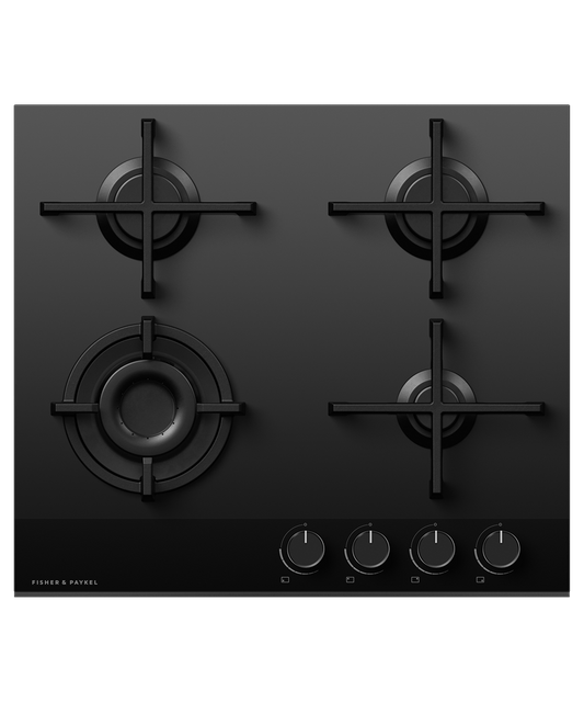 60cm 4 Burner Gas on Glass Cooktop NG - Black