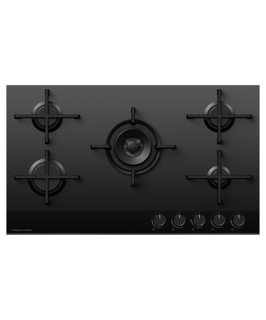90cm Gas on Glass Cooktop w/ Wok Burner LPG - Black