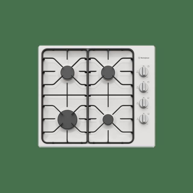 60cm 4 Burner Gas Cooktop  F/F White