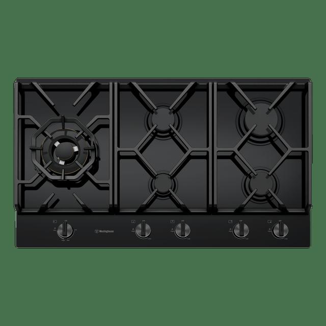 90cm 5 Burner Black Glass Gas Cooktop w Wok Burner
