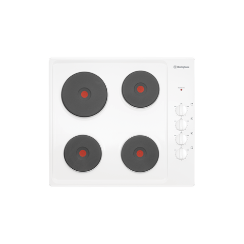 60cm 4 Solid Element Cooktop Knob Control White