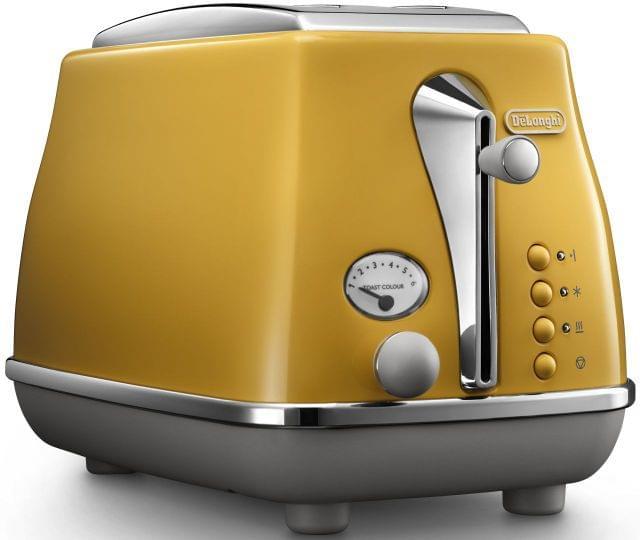 DELONGHI Icona Capitals 2 Slice Toaster - Yellow (CTOC2003Y)