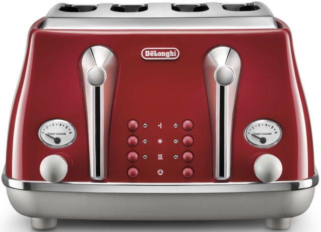 DELONGHI Icona Capitals 4 Slice Toaster - Red (CTOC4003R)