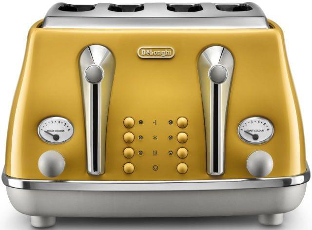 DELONGHI Icona Capitals 4 Slice Toaster - Yellow (CTOC4003Y)