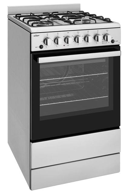CHEF 54cm Upright Grill in Oven 4x Burners Enamel - NG
