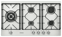 WESTINGHOUSE 90cm 5 Burner Wok Gas Cooktop Enamel Trivets F/F (WHG952SB)