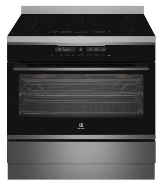 Electrolux 90cm Upright Pyro Cooker Induction 13 Func Dark SS