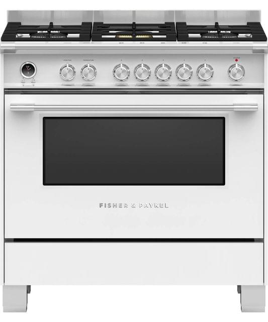Fisher &Paykel 90cm Upright Cooker Dual Fuel 9 Functions Wht