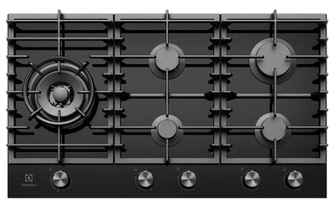 Electrolux 90cm Gas Cooktop 5 Burner Black Glass