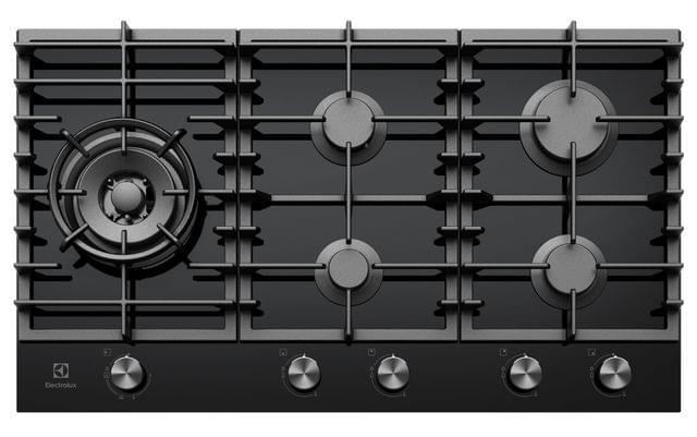 Electrolux 90cm Gas Cooktop 5 Burner Black Glass