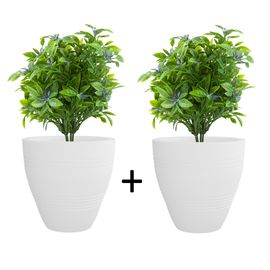 Pack of 2 Cream White Ch-Cup 14 Inches Round Planter
