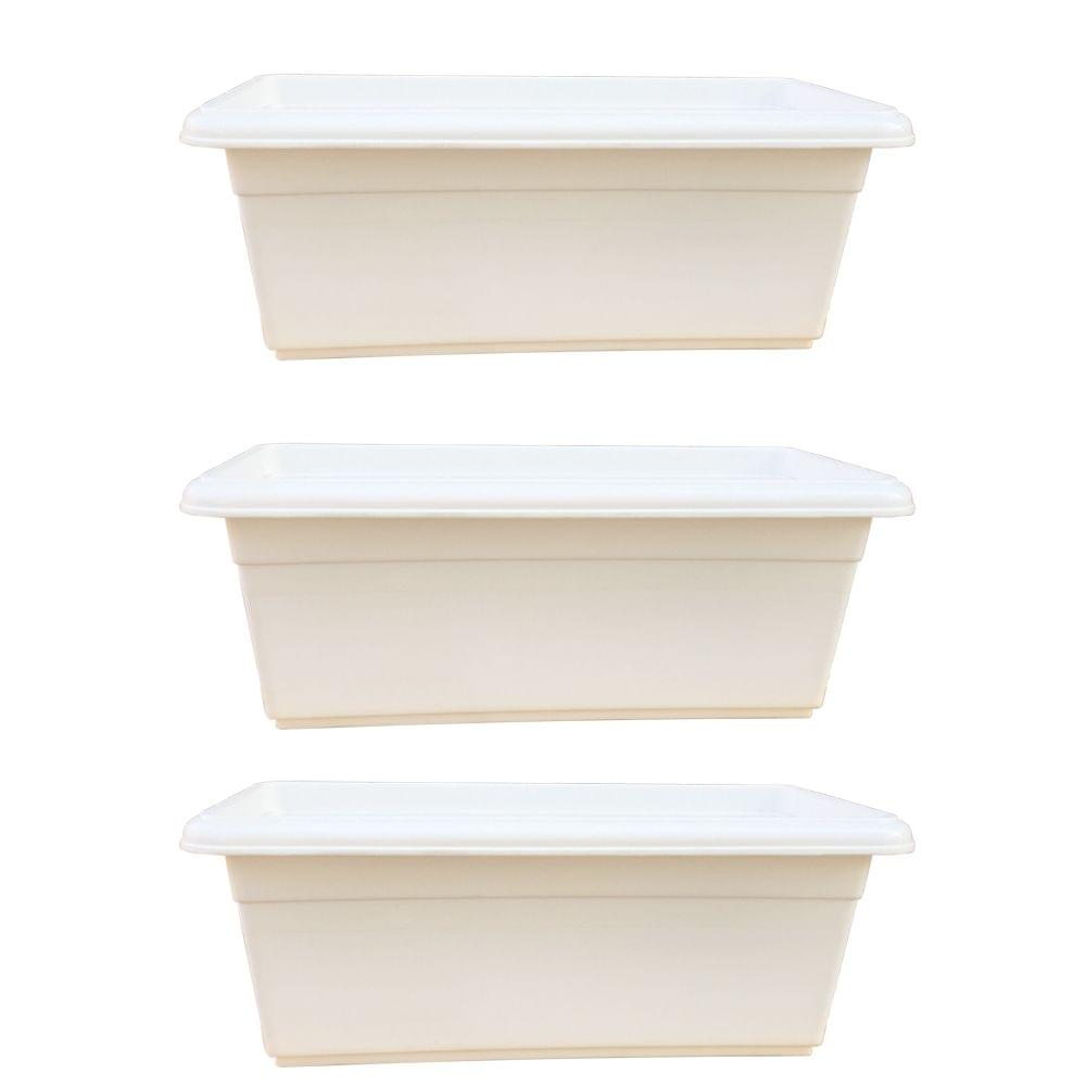 Yuccabe Italia Shera Series White 24 inches Tray Planter (Set of 3)