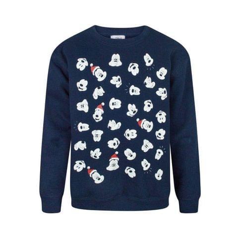 Disney Childrens Boys Mickey Mouse Faces Christmas Sweatshirt