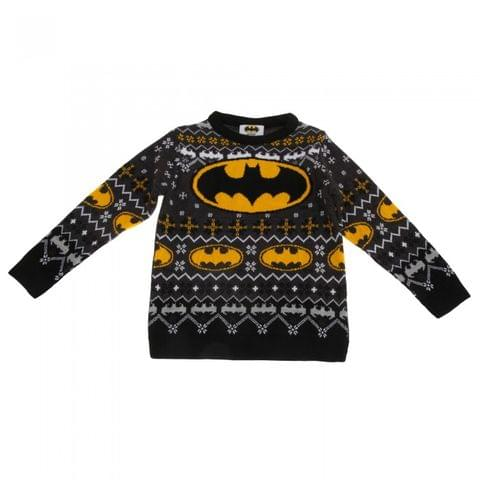Batman Childrens/Kids Unisex Official Bat Logo Patterned Christmas Jumper
