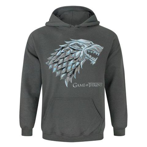 Game Of Thrones Official Mens Metallic Stark Direwolf Hoodie