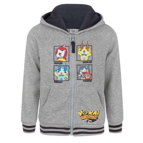 Yo-Kai Watch Childrens Boys Characters Grey Zip Up Hoodie