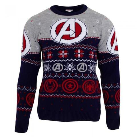 Marvel Avengers Unisex Adults Logo Patterned Christmas Jumper