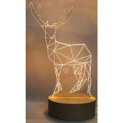 3D Acrylic Table Lamp, Night Light Reindeer Design