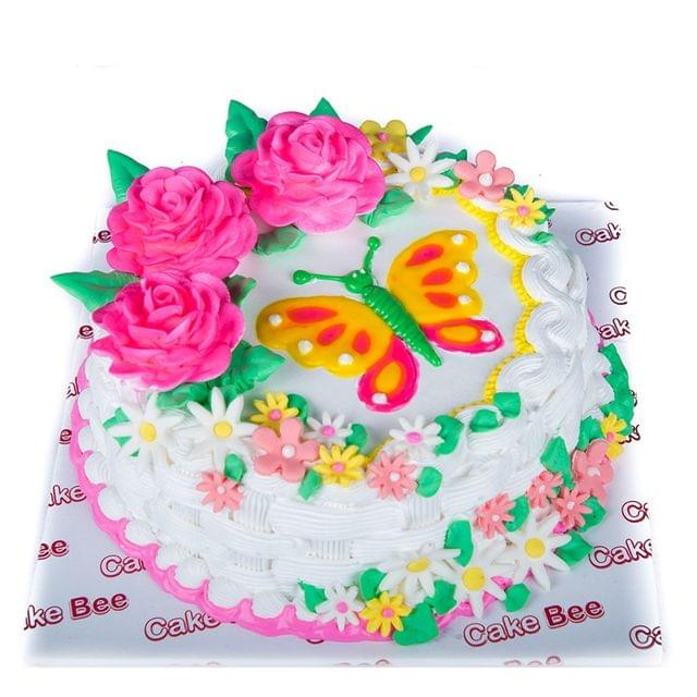Butterfly and Roses Cake