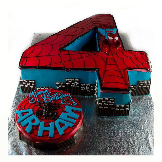 Spiderman Number Fondant Cake