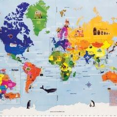 World Map with Reusable Stickers, Educational toy for 4-12 year old boys and girls, return gift for kids