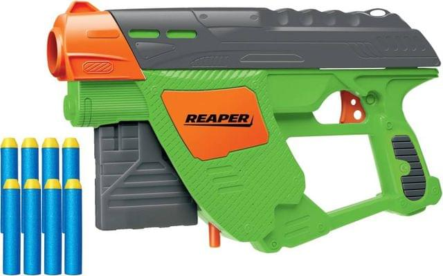 Buzz Bee Air Warrior Reaper With Dart-Clip & 8 Long Distance Darts Blaster Toy Gun  (Green)