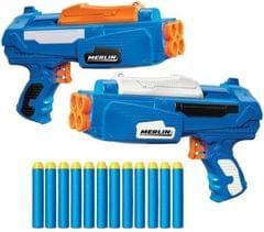 Buzz Bee Buzz Bee Air Warriors Merlin Blaster Toy Gun with 12 Long Distance Darts (Pack of 2)  (Blue)