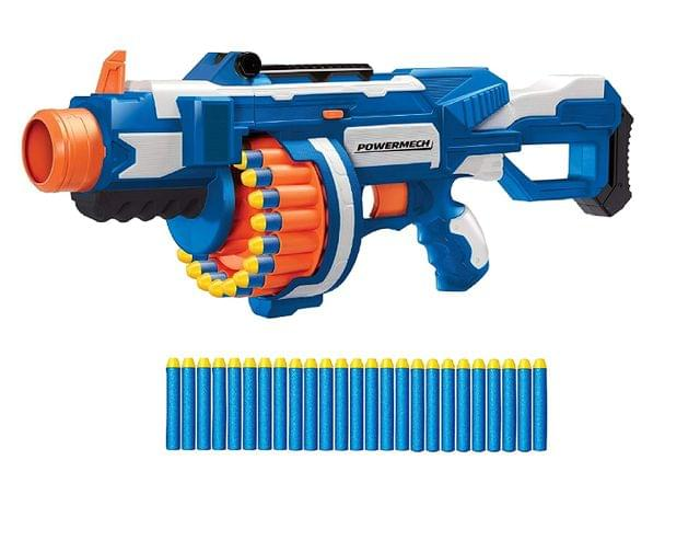 Buzz Bee Toys Air Warrior POWERMECH Full Motorized Blaster Gun with 25 Long Distance Darts