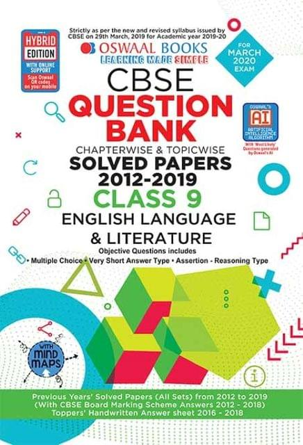 Oswaal CBSE Question Bank Class 9 English Language and Literature Book Chapterwise & Topicwise Includes Objective Types & MCQ's (For March 2020 Exam)