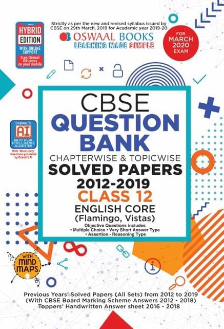 Oswaal CBSE Question Bank Class 12 English Core Book Chapterwise & Topicwise Includes Objective Types & MCQ's (For March 2020 Exam)
