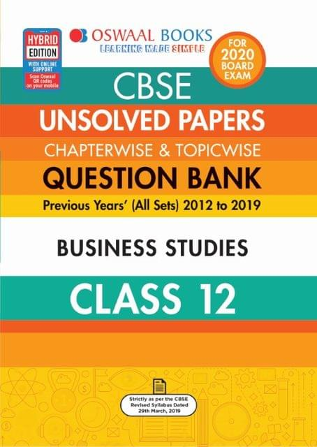 Oswaal CBSE Unsolved Papers Chapterwise & Topicwise Class 12 Business Studies Book (For March 2020 Exam)