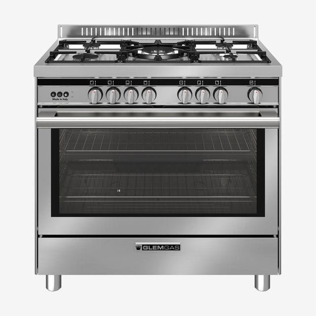 GLEM GAS | Cooker 5 Full Gas Burner Full Safety | Silver | ST9612RI (965RI)