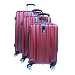 PLATINUM TRAVEL TROLLEY BAG   UNBREAKABLE HARD   RED   3 SET   RA8691