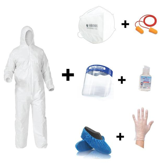PPE KIT | Coverall / Face Shield/ Ear Plug / KN95 Mask / Shoe Cover / Gloves / Hand Sanitizer | 7 Kit