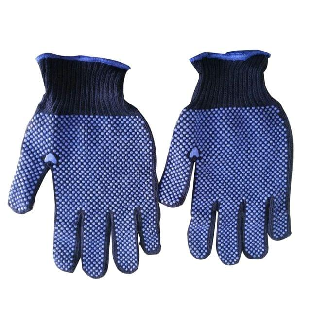 Cotton Knitted | Double side | PVC dots Gloves | Navy blue | 12 Pairs