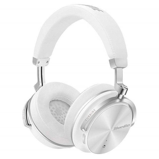 BLUEDIO | Active Noise Cancelling Over-Ear Swivelling Wireless Bluetooth Headphones Headsets with Mic | White
