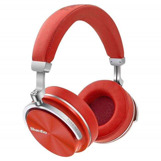 BLUEDIO   Active Noise Cancelling Over-Ear Swivelling Wireless Bluetooth Headphones Headsets with Mic   Red