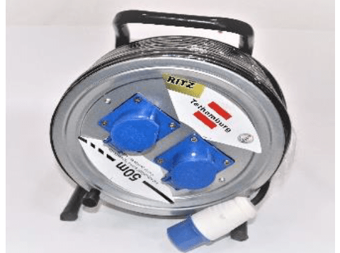 KMAX77 | Extention Reel - Industrial Socket |2 Female Pin| 50M |Steel 18-ERS-50