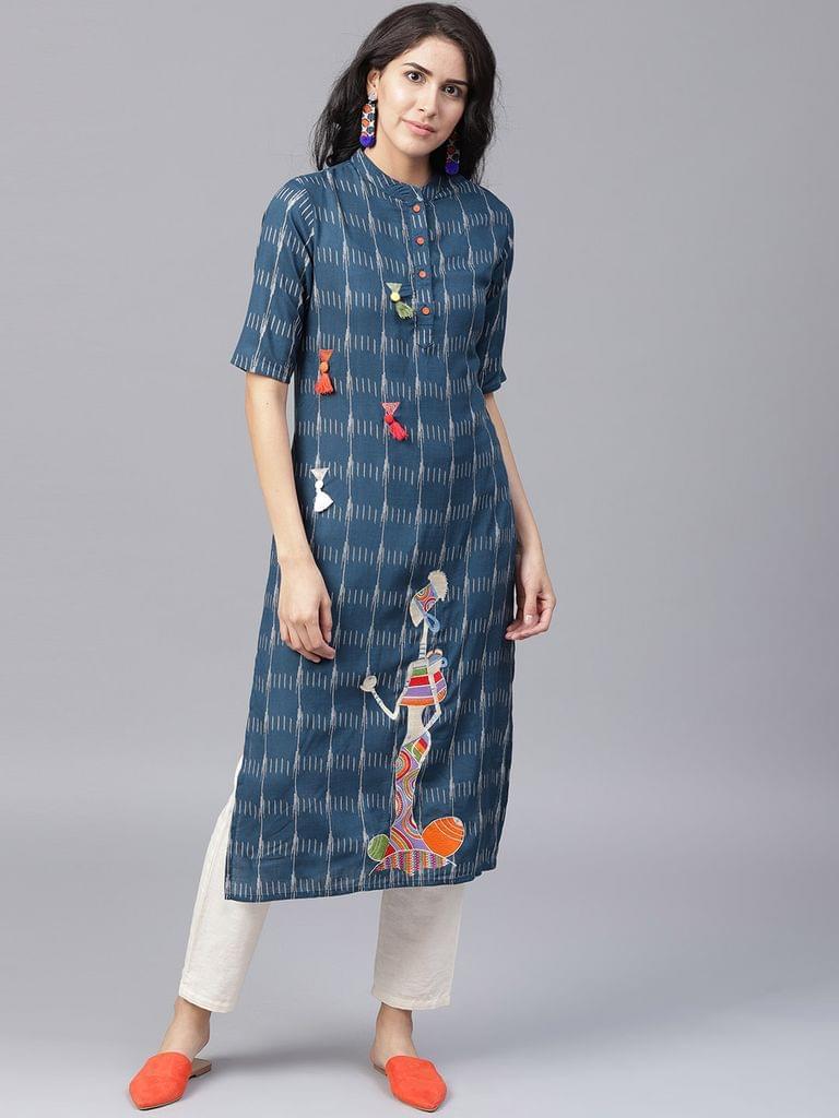 Yufta Women Navy Blue  Off-White Printed Straight Kurta
