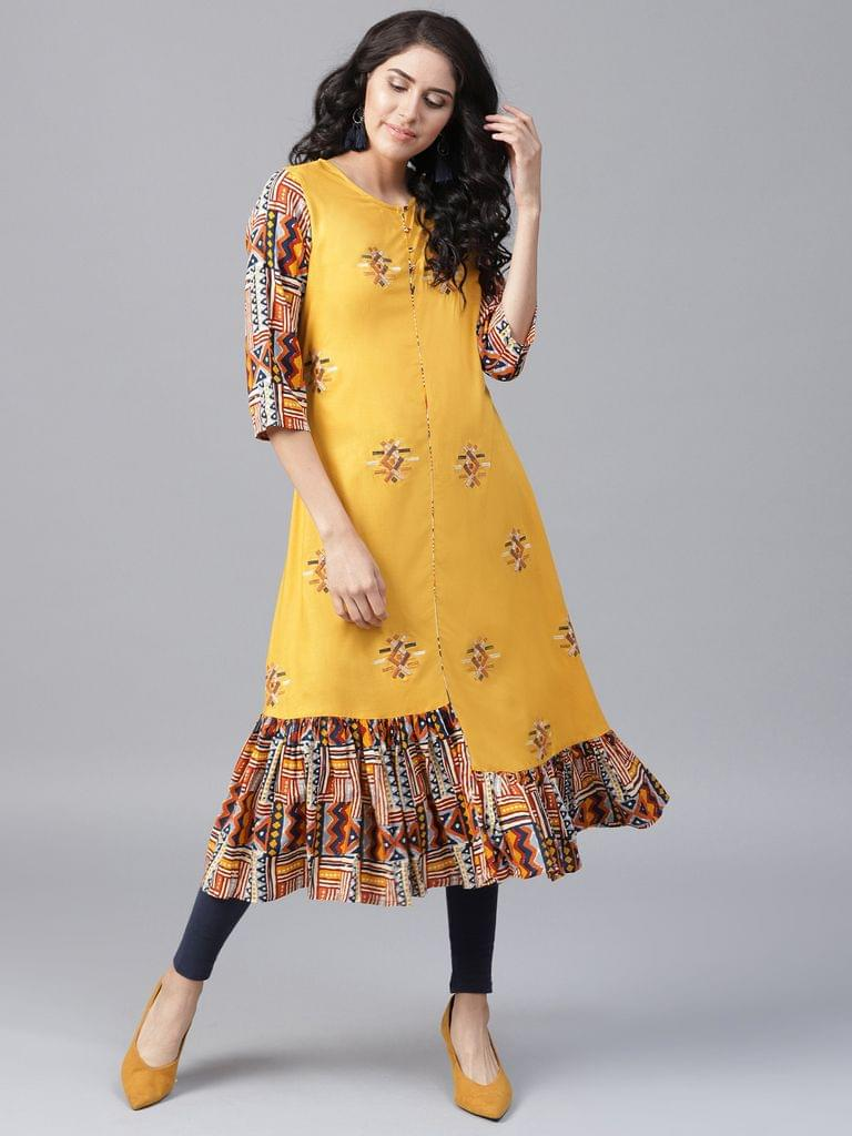 Yufta Women Mustard Yellow Embroidered A-Line Kurta