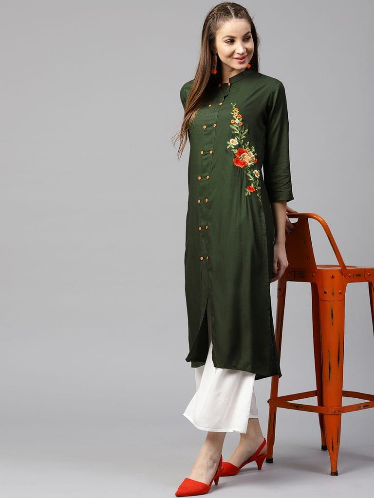Yufta Women Green Solid Straight Kurta