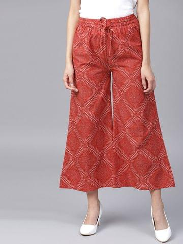Yufta Women Red  Off-White Printed Wide Leg Cropped Palazzos