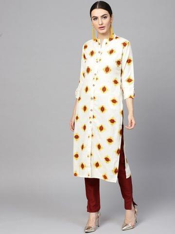 Yufta Women Off-White & Maroon Printed Kurta with Trousers