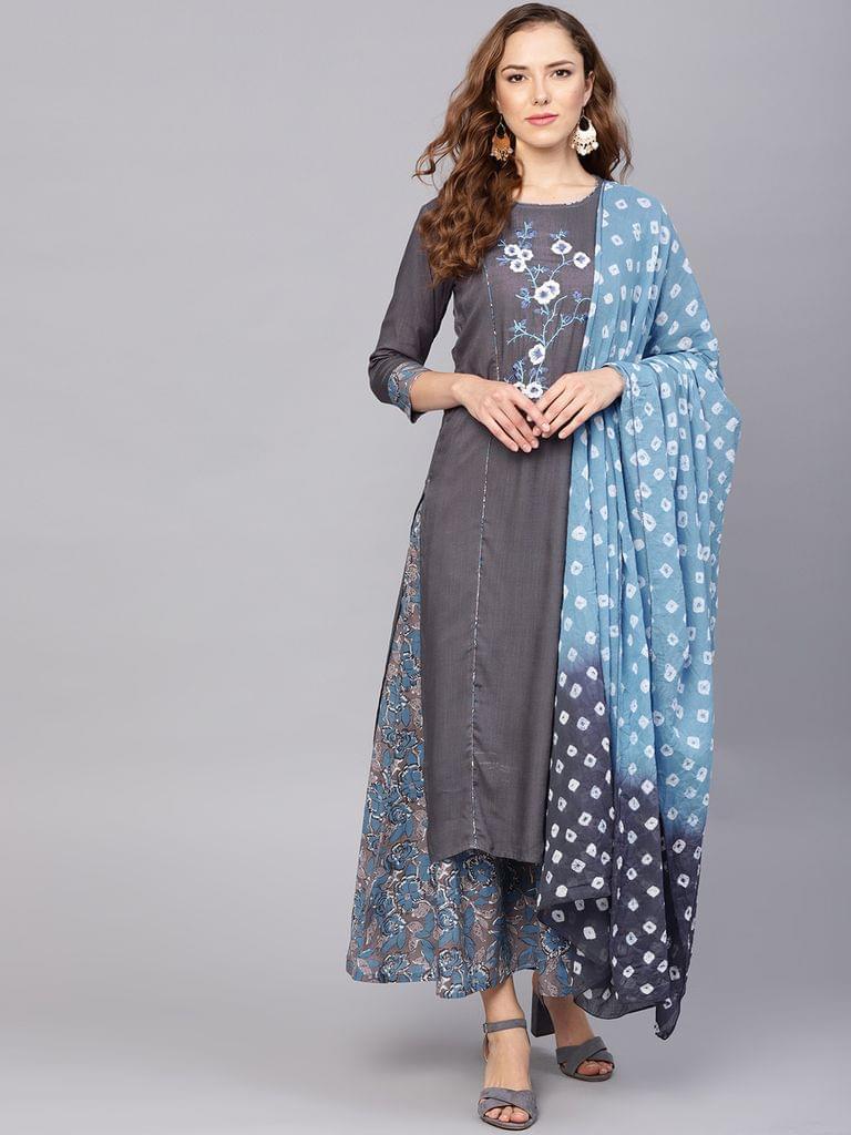 Yufta Women Grey & Blue Yoke Design Kurta with Palazzos & Dupatta