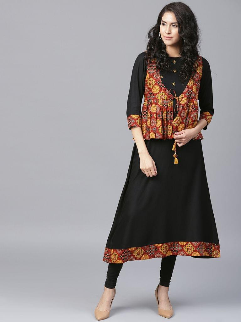 Yufta Women Black  Brown Solid A-Line Kurta with Ethnic Jacket