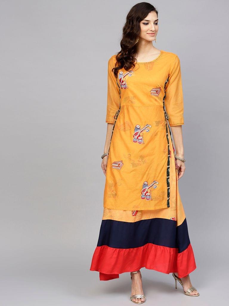 Yufta Women Yellow & Navy Blue Embroidered Layered Maxi Dress