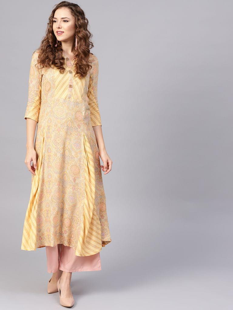 Yufta Women Beige & Yellow Printed A-Line Kurta