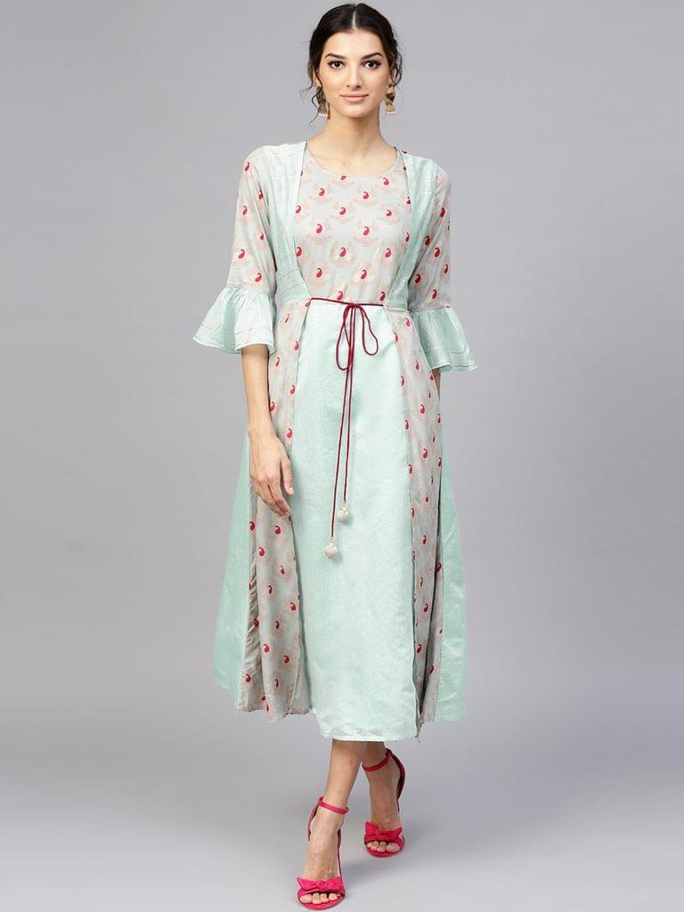 Yufta Women Blue & Grey Ethnic Print Layered Maxi Dress