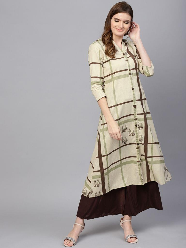 Yufta Women Beige & Brown Printed A-Line Kurta