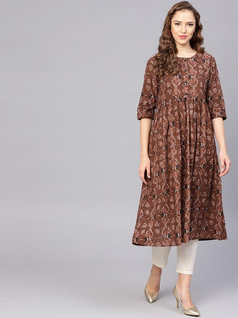 Yufta Women Brown Printed Empire Kurta
